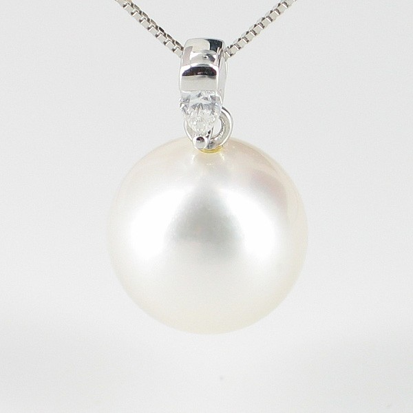White South Sea Pearl & Diamond Pendant Necklace 12-13mm On 18K White Gold