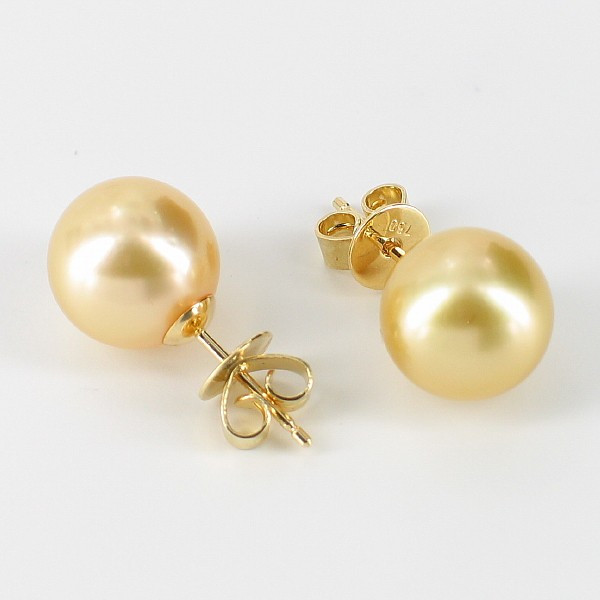 Golden South Sea Pearl Earrings 9.5-10mm On 18K Yellow Gold