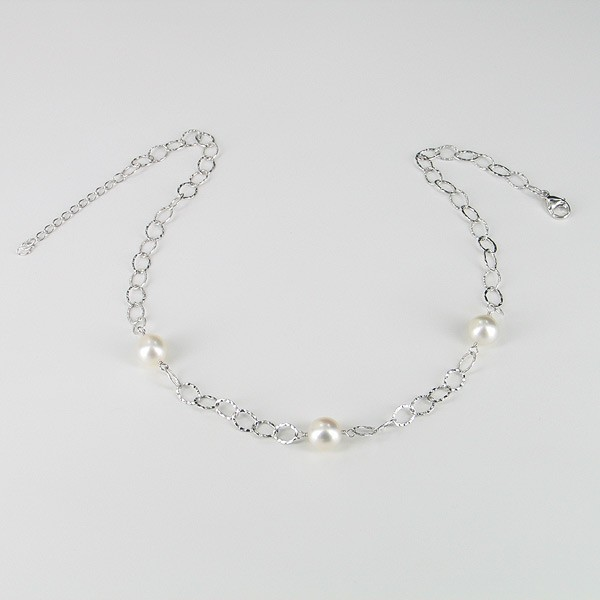 South Sea 9-10mm Baroque Pearl Necklace On Sterling Silver Chain