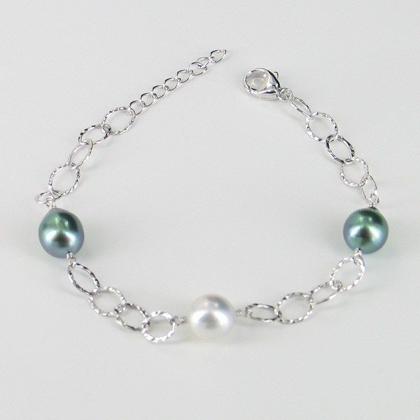 Tahitian & South Sea Baroque 9-10mm Pearl Bracelet On Sterling Silver Chain