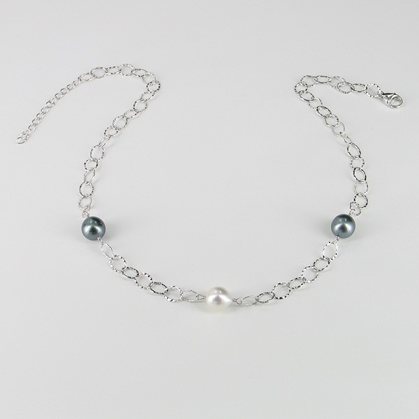 Tahitian & South Sea 9-10mm Baroque Pearl Necklace With Sterling Silver Chain