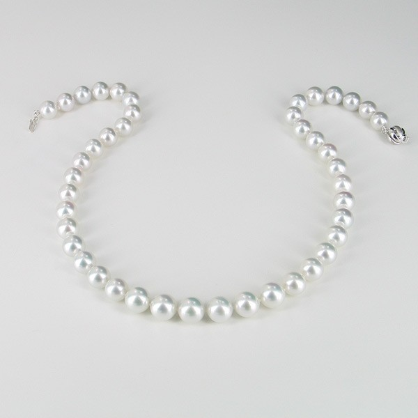 Silver White 9-11mm Graduated South Sea Pearl Necklace 18K Gold