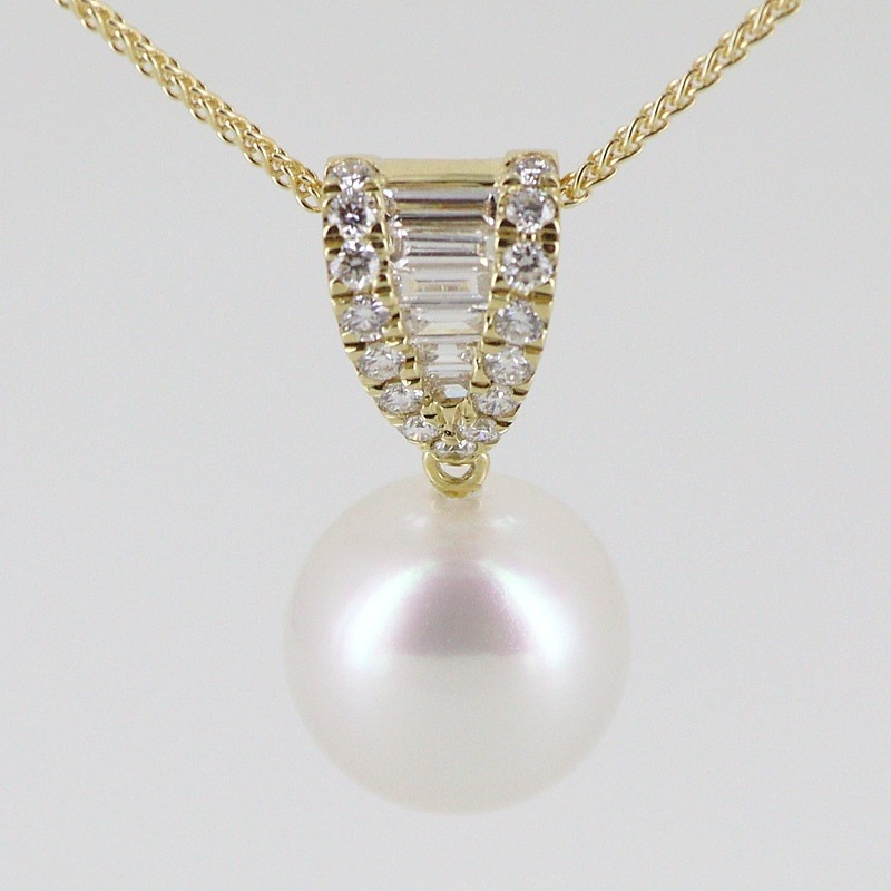 South Sea AAA Pearl 11-12mm & Diamond Pendant Necklace18K Yellow Gold