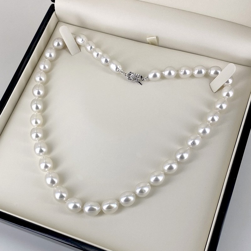 Graduated South Sea 9-10.5mm Oval Baroque Pearl Necklace 14K Gold