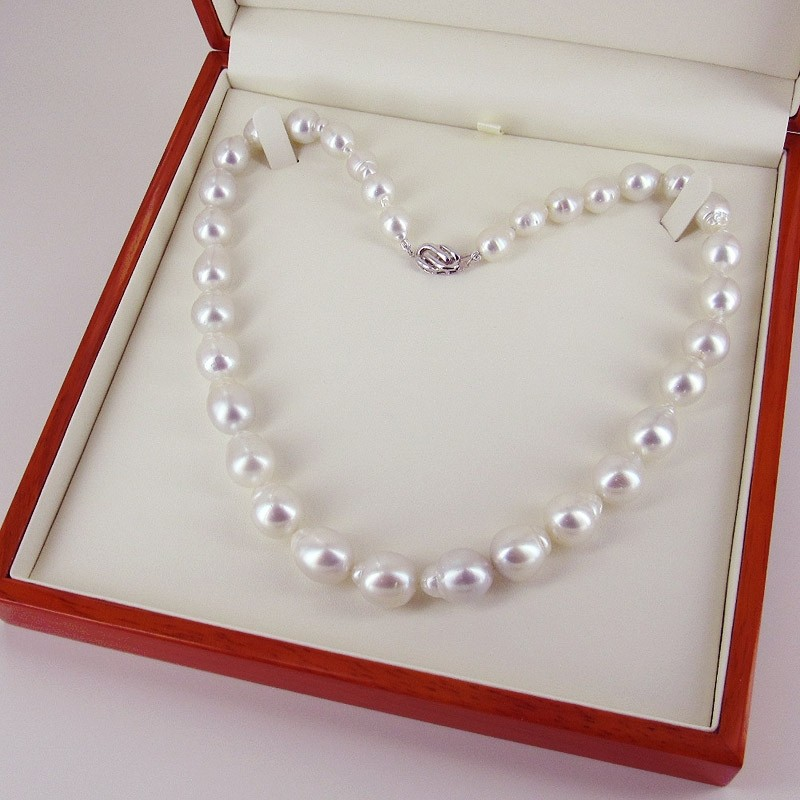 Large 9.5-13.5mm Baroque Pearl Graduated South Sea Necklace 14K Gold
