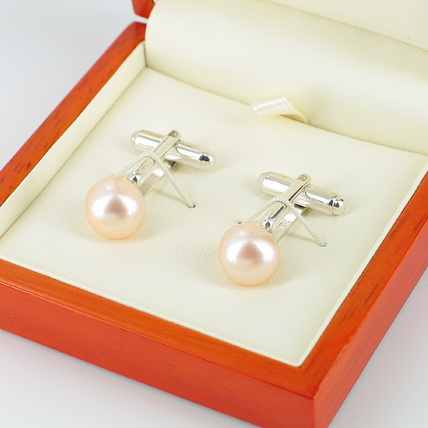 Pink 11-12mm Button Pearl Cufflinks On Sterling Silver
