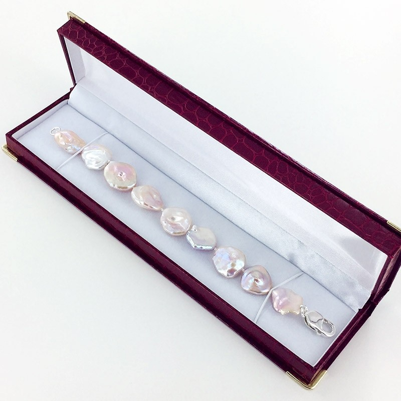 Pinkish Keshi Pearl Bracelet 18-20+mm With Sterling Silver