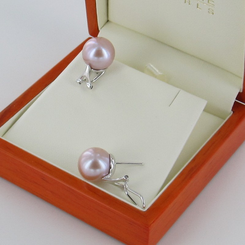 Large Pink Pearl Stud Earrings 12-13mm Pearls On Sterling Silver