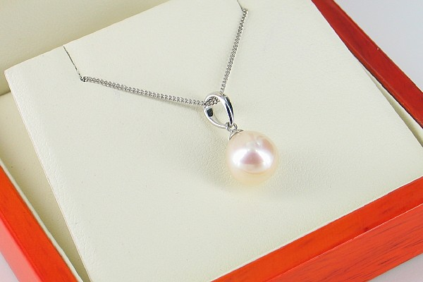 Drop Pearl Pendant Necklace 8.5-9mm On 9K White Gold