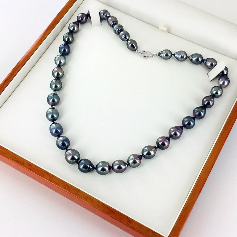 Graduated Tahitian Baroque Pearl Necklace 8-10mm With 18K White Gold or Sterling Silver Clasp