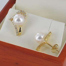 Pearl And Diamond Earrings, 7.5-8mm with 18K Yellow Gold