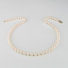 Classic Princess Pearl Necklace, 6.5-7mm Pearls With 14K Yellow Gold