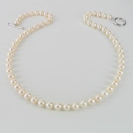 Princess Freshwater Pearl Necklace, 6.5-7mm Pearls & Sterling Silver