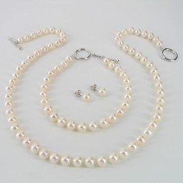 White Pearl Necklace Set, 6.5-7mm Pearls With Sterling  Silver