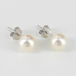White Pearl Stud Earrings AAA, 6.5-7mm Pearls On 14K White Gold