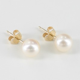 White Pearl Stud Earrings AAA 6.5-7mm Pearls On 14K Yellow Gold