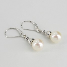 Dangly White Pearl Earrings 8-8.5mm on 14K White Gold