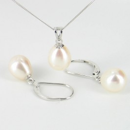 White AAA Drop Pearl Pendant & Earrings Set Drop On 9K White Gold