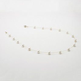 White Illusion Freshwater Pearl Necklace With 14K Yellow Gold Clasp