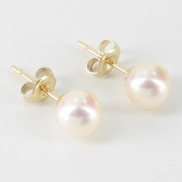 Cream Freshwater Stud Earrings 6.5-7mm On 9K Yellow gold