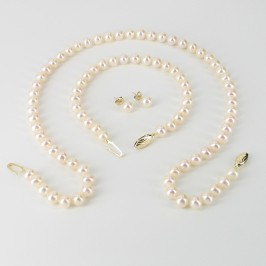 Cream Freshwater Pearl Necklace Set 6.5-7mm On 9K Yellow Gold