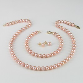 Pink Pearl Necklace Set 6.5-7mm 14K Yellow Gold