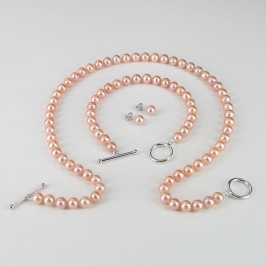 Pink Pearl Necklace Set 6.5-7mm 925 Silver