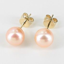 Pink Freshwater Pearl Earrings AAA 7.5-8mm On 9K Yellow Gold