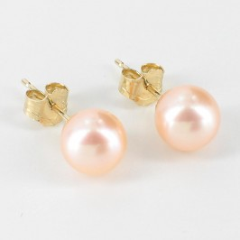 Pink Freshwater Pearl Stud Earrings 6.5-7mm On 9K Yellow Gold