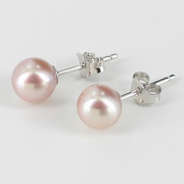 Lilac Freshwater Pearl Stud Earrings 6.5-7mm On Sterling Silver