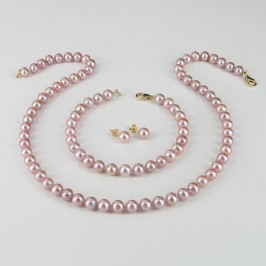 Lilac Pearl Necklace Set 6.5-7mm With 14K Yellow Gold