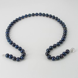 Black Freshwater 7.5-8mm Pearl Necklace With 14K White Gold