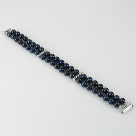 Black Double Strand Pearl Bracelet With Sterling Silver