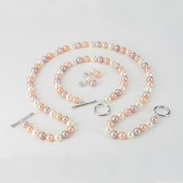 Multicolour Pearl Necklace Set, 6.5-7mm Pearls With Sterling Silver