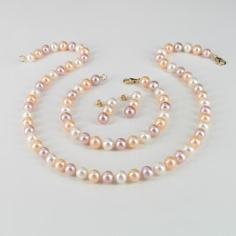 Multicolour Pearl Necklace Set, 7.5-8mm Pearls With 14K Yellow Gold