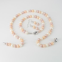 White, Pink & Lilac Freshwater Pearl Set With Sterling Silver
