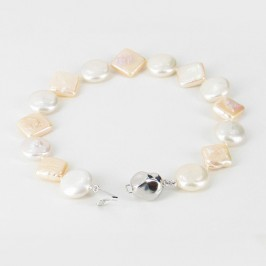 White & Peach Pearl Bracelet Coin & Square On Sterling Silver
