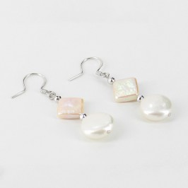 White & Peach Pearl Earrings Coin & Square 9.5-11.5mm On Sterling Silver