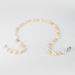 White & Peach Pearl Necklace Coin & Square On Sterling Silver