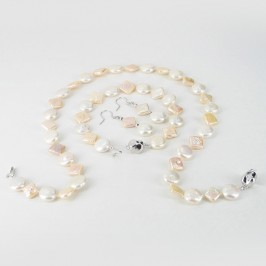 White & Peach Coin & Square Pearl Necklace Set  9.5-11.5mm Sterling Silver