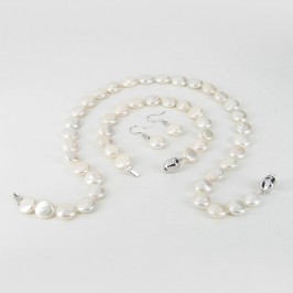 White Coin Pearl Necklace Set 11-11.5mm With Sterling Silver