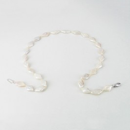Freshwater Rhombus Shape Pearl Necklace 9.5x15mm With Sterling Silver