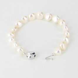 Large White Baroque Pearl Bracelet 9-10mm With Sterling Silver