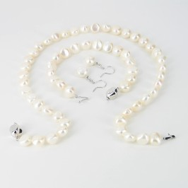 White Large Baroque Pearl Necklace Set 9-10mm With Sterling Silver