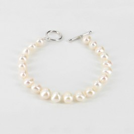 White Freshwater Baroque Pearl Bracelet 8-9mm With Sterling Silver