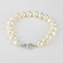 Baroque 8-9mm Pearl Bracelet With A Sterling Silver & Cubic Zirconia Heart Clasp