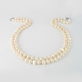 White Baroque Double Strand 8-9mm Pearl Necklace With Sterling Silver