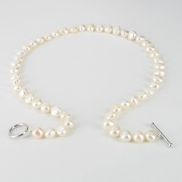 White Freshwater Baroque Pearl Necklace 8-9mm With Sterling Silver