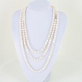 Two Metre Shanghai Style 9-10mm Baroque Pearl Necklace With Sterling Silver