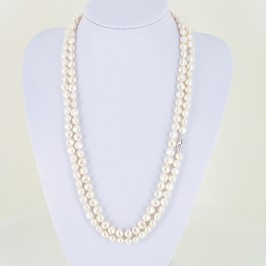 Mini Shanghai Style Baroque Pearl Necklace 135cm With Sterling Silver